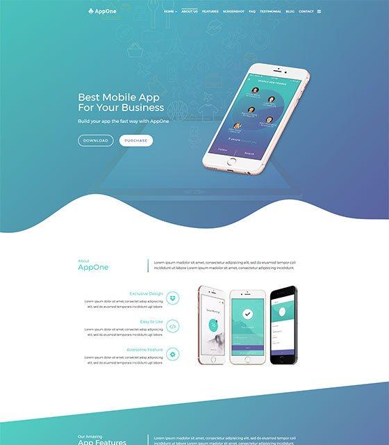 AppOne App - App Landing HTML Template
