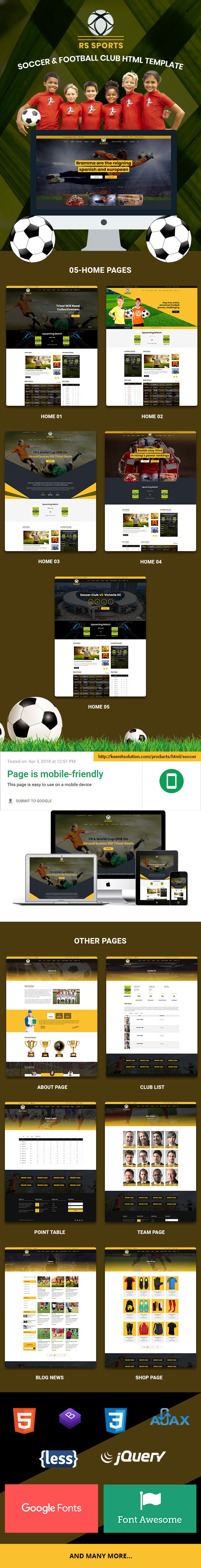 RS Sports – Soccer & Football Club HTML Template | MasterTemplate