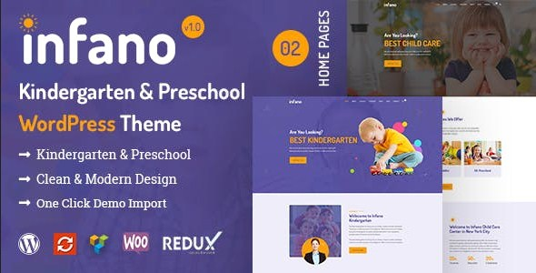 Infano - Kindergarten & Preschool WordPress Theme - RSTheme