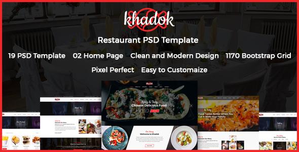 Khadok – Restaurant PSD Template